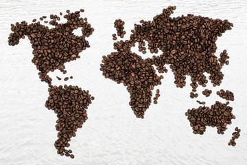 Fototapeta Kaffee Kaffeebohnen Weltkarte
