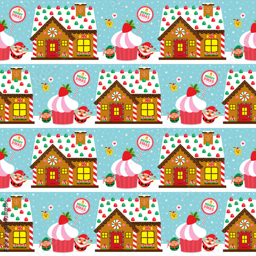 Cotton fabric Christmas Seamless with Santa Claus