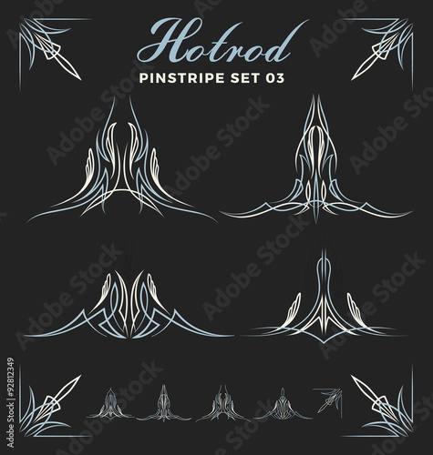 Set Of Vintage Pinstripe Line Art Include Un Expand Path Use For