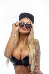 Blond woman in black bra, ...