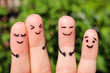 canvas print picture - Finger art of friends. The concept of a group of people laughing.
