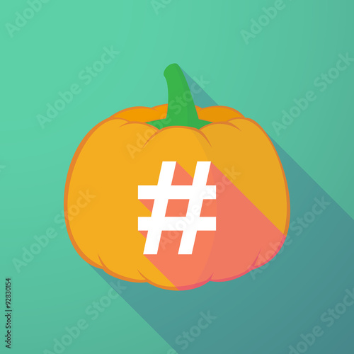 Photo  long shadow halloween pumpkin with a hash tag