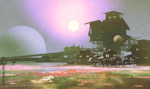 Printed kitchen splashbacks Purple factory and industry in flower fields,sci-fi scene,illustration painting
