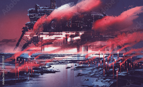 In de dag Crimson sci-fi scene of industrial city,illustration painting
