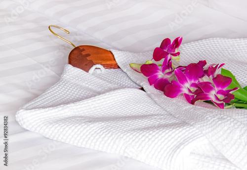Fotografie, Obraz  white bathrobe on the bed