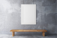 Blank Frame In The Gallery On A Concrete Wall
