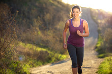 Beautiful Attractive Woman Morning Sunset Sunrise Jog Walk Hike Outdoors Exercise Burning Calories