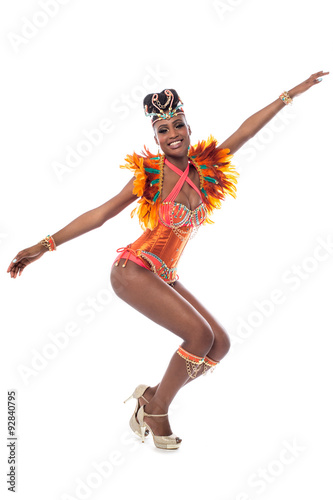 Montage in der Fensternische Karneval Samba dancer showing her dance move