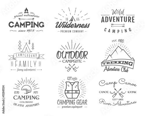 Fotografía  Set of retro badges and label logo graphics. Camping emblems and