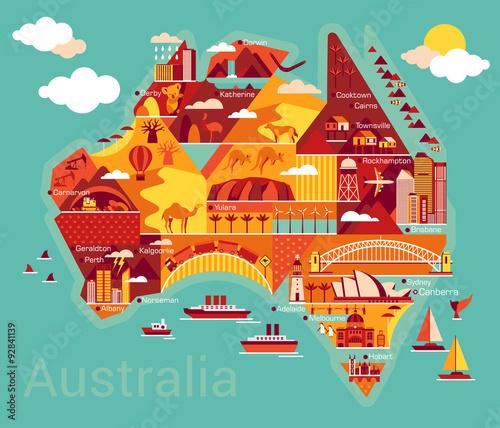 Zdjęcie XXL Cartoon mapa Australii