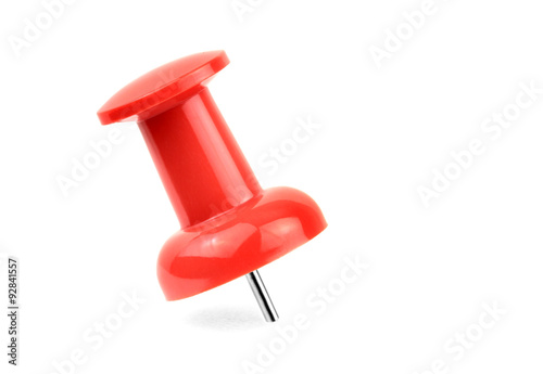 Fotografia, Obraz  Red pushpin isolated on white background