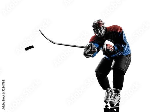 Plakat Hokej na lodzie człowiek gracz sylwetka