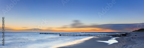 Dreamy blurred glowing sunset seascape