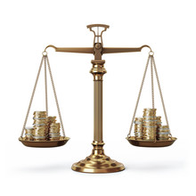Brass Scales With Coin Stacks - Balanced - Front View
