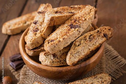 Italian biscotti cookies with nuts and chocolate chips Fototapeta