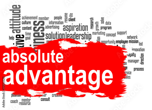 Photo Absolute advantage word cloud with red banner