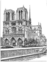 FototapetaNotre-Dame de Paris, vintage engraving.