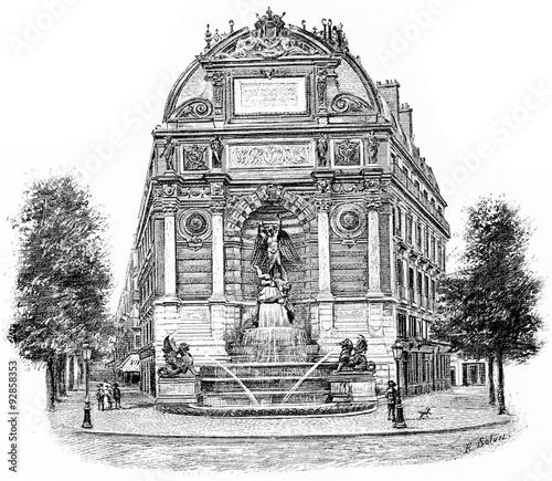 Poster Fontaine Fontaine Saint-Michel, vintage engraving.