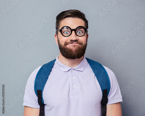 Portrait of a male nerd with funny face Canvas Print