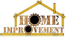 Home Improvement Symbol With Wooden Gears / Wooden Symbol With Text Home Improvement, Wooden Gears And Wooden Meter Ruler In The Shape Of House. Isolated On White Background