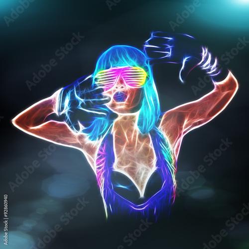 Sexy fiery gogo dancer fractal Poster