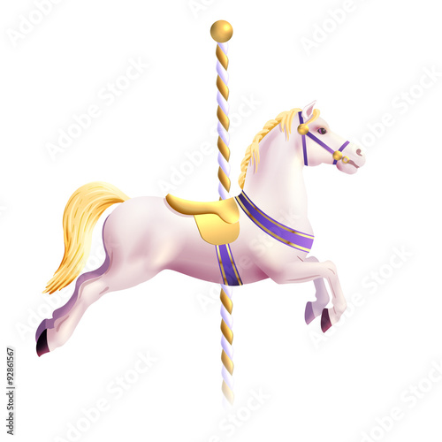 Fotografie, Obraz  Carousel Horse Realistic