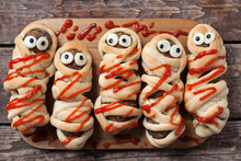 Halloween Homemade Food Sausage Meatball Mummies Wrapped In
