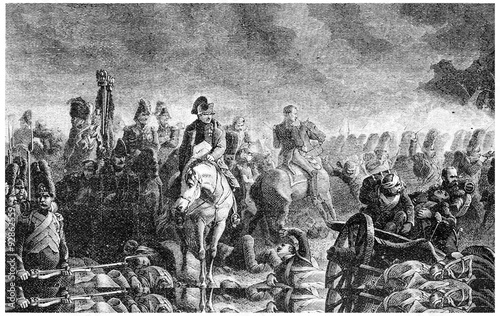 Valokuva The evening of Waterloo, vintage engraving.
