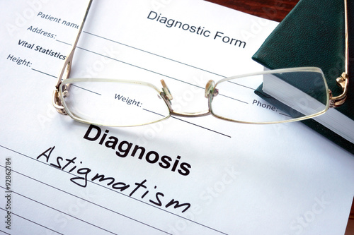 Diagnosis list with Astigmatism and glasses Canvas Print