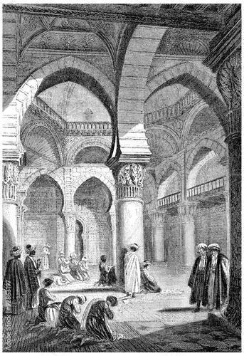 Vászonkép Algiers, Interior of a mosque, vintage engraving.