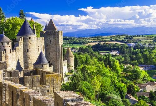 Foto op Plexiglas Kasteel Carcassonne - impressive town-fortress in France