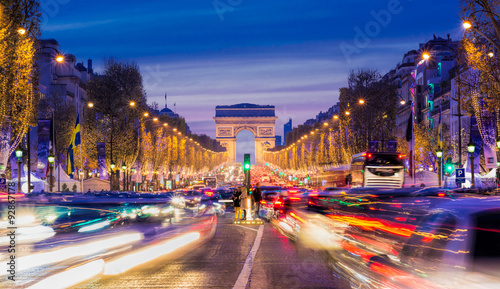 Avenue des Champs-Elysees with Christmas lighting leading up to the Arc de Triomphe in Paris, France - 92867178