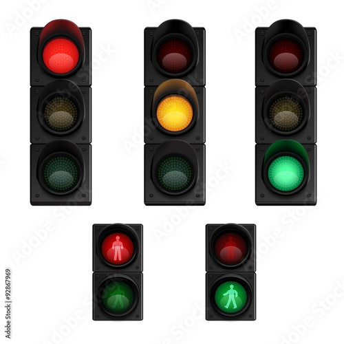 Trafic lights realistic pictograms set Poster