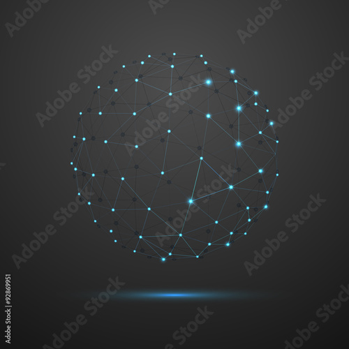 obraz lub plakat Abstract vector sphere. Futuristic technology wireframe mesh polygonal element. Connection Structure. Geometric Modern Technology Concept. Digital Data Visualization.