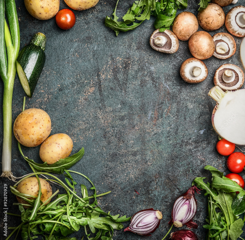 vegetables for cooking on rustic wooden background, top view