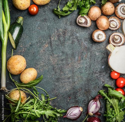 Staande foto Groenten vegetables for cooking on rustic wooden background, top view