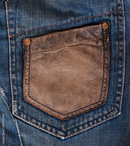 Fotobehang Stof Blue Denim Texture, Background, Jeans, pocket.