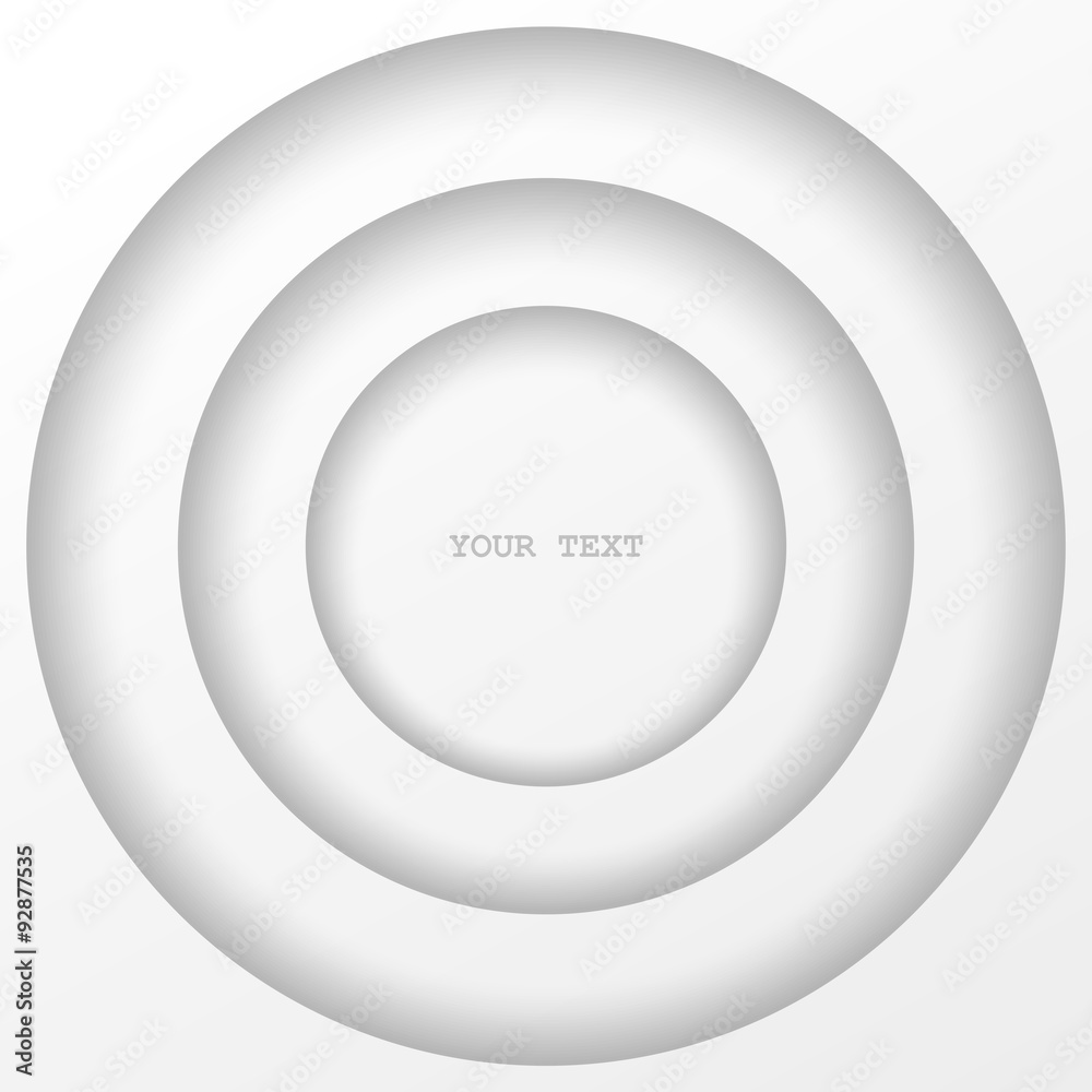 Fototapety, obrazy: Abstract structure of stepped circles. White isolated element design