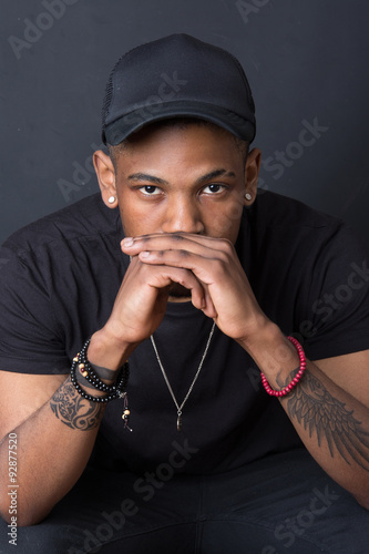 Fotografie, Obraz  Portrait of hip hop African American dancer isolated background