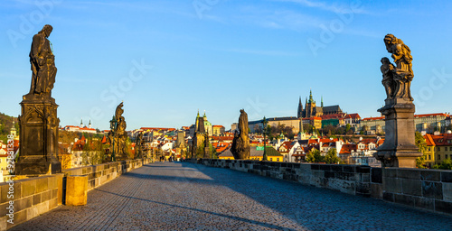Poster Prague Charles bridge and Prague castle in the morning
