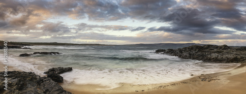 Poster Campagne Beautiful sunrise landscape of Godrevy on Cornwall coastline in