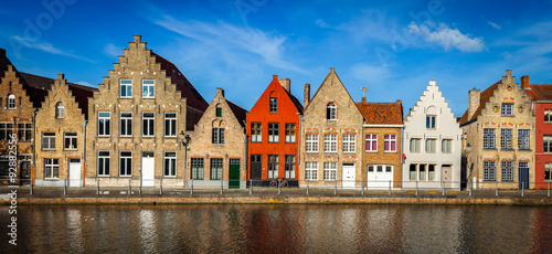 Wall Murals Bridges European town Bruges medieval houses and canal, Belgium