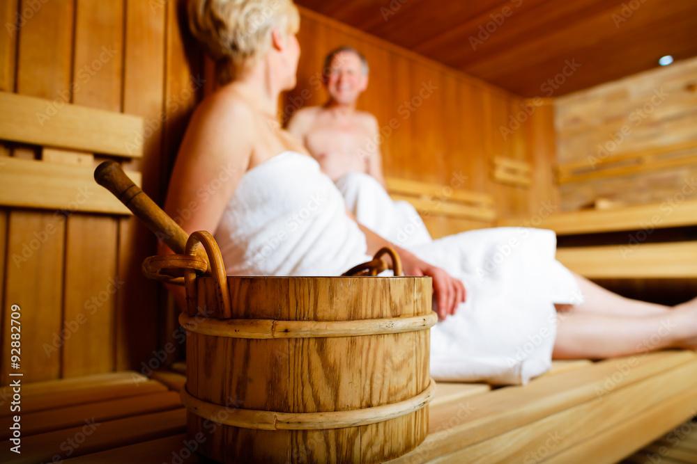 Fototapeta Seniors in sauna sweating and relaxing