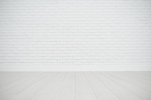 White Blank Brick Wall And Wooden Floor