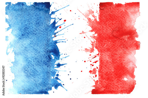 Fototapeta hand-drawn sketch - French flag , with the characteristic waterc