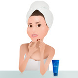 Fototapeta Sypialnia - Woman Squeeze Pimple / Woman with a towel on the head after shower or bath. She squeeze out pimples. In front of she is a blue tube with the inscription clean skin.