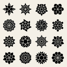 Vector Black And White Mandala Lace Ornaments Collection