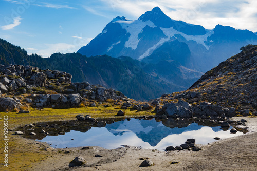 Poster de jardin Reflexion Mount Baker Reflection