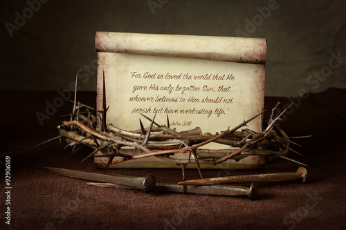 Fotografie, Obraz  Crown of Thorns and Nails With Scripture