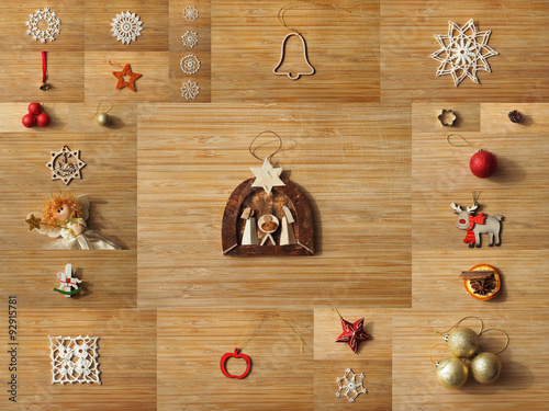 Christmas Tree Decoration Collage On A Wooden Board Backgrounds